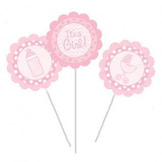 3 Blumen- oder Kuchenstecker It's a Girl Baby Rosa