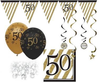 29 Teile Set zum 50. Geburtstag, Jubiläum oder Goldene Hochzeit - Party Deko in Schwarz & Gold