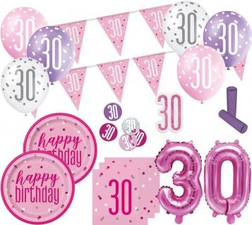 XL 36 Teile 30. Geburtstag Pink Dots Party Deko Set 8 Personen