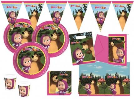 90 Teile Mascha und der Bär Party Deko Set für 16 Kinder