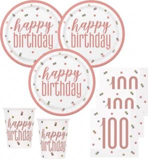 48 Teile 100. Geburtstag Urban Apricot Party Deko Set 16 Personen