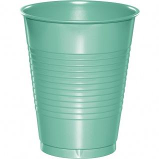 20 große Plastik Becher Mint 473 ml