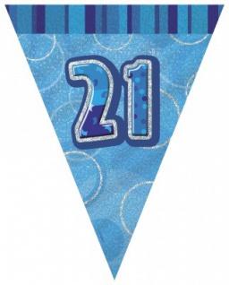 21. Geburtstag Wimpel Girlande Blau