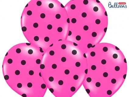 6 Luftballons Pink mit schwarzen Punkten