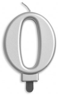 Zahlenkerze in Silber Metallic 0