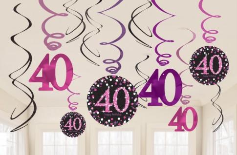12 hängende Girlanden Glitzerndes Pink und Schwarz 40. Geburtstag