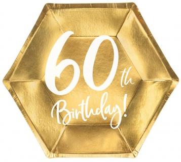 6 Papp Teller zum 60. Geburtstag Gold Metallic