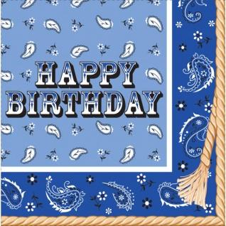 16 Geburtstags Servietten Westernreiten Bandana Blau