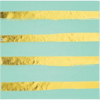 32 Teile Deluxe Party Deko Set Mint & Gold Glanz gestreift für 8 Personen - Vorschau 3