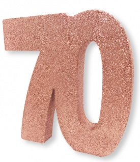 Deko Glitzer Zahl 70. Geburtstag RoseGold