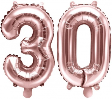 Folienballons Zahl 30 Rosegold Metallic 35 cm