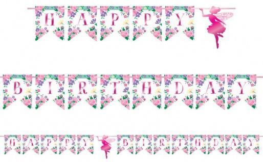 Geburtstags Girlande am Satinband Blumen Fee