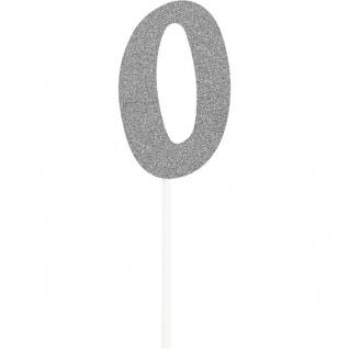 Glitzer Kuchen oder Deko Stecker Zahl 0 Silber