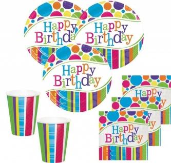 50 Teile Party Set Happy Birthday Bunte Punkte und Streifen für 16 Personen