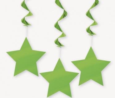3 hängende Sterne Girlanden hellgrün