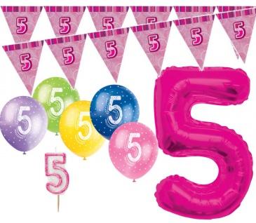 5. Geburtstag Pink XXL Folienballon + Girlande + Luftballons + Kerze Deko Set - Fünf