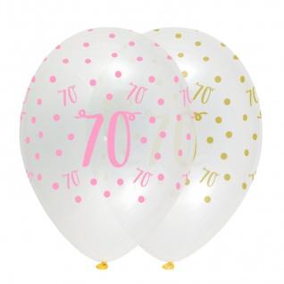 6 Luftballons zum 70. Geburtstag durchsichtig mit Rosa und Gold bedruckt