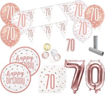 XL 36 Teile 70. Geburtstag Urban Apricot Party Deko Set 8 Personen
