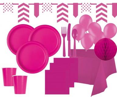 XXL 99 Teile Party Deko Set Neon Pink für 12 Personen