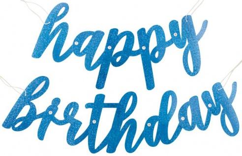 Geburtstags Buchstaben Girlande Blue Dots Glitzer Happy Birthday