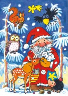 Fensterbild Postkarte Weihnachtsmann mit Tieren
