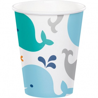8 Papp Becher Happy Baby Wal Party Blau