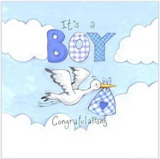 16 Servietten Baby Storch Blau