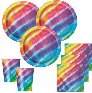 32 Teile Party Deko Set Regenbogen Hippie Batik Style für 8 Personen