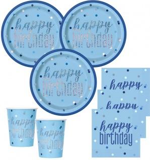 32 Teile Happy Birthday Blue Dots Glitzer Geburtstag Party Set 8 Personen
