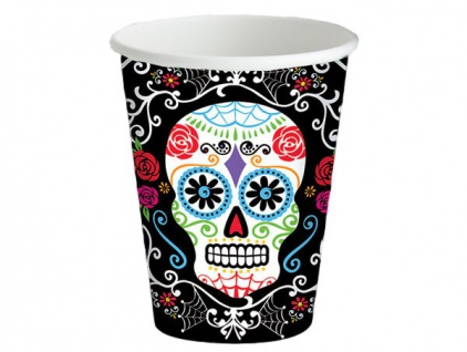 8 Halloween Papp Becher Day of the Dead