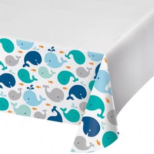 Tischdecke Happy Baby Wal Party Blau