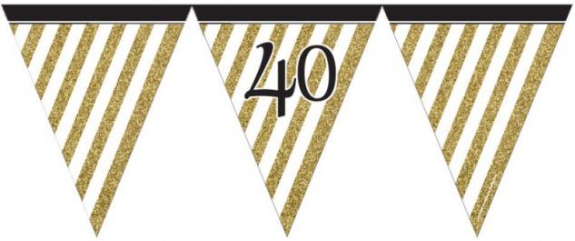 Wimpelkette 40. Geburtstag Black and Gold
