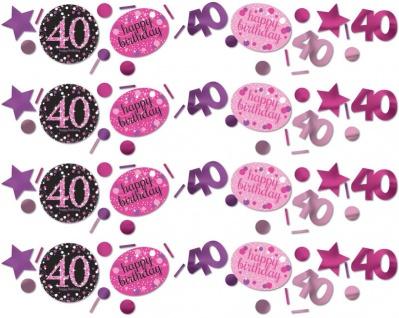 Deko Konfetti 40. Geburtstag in Pink Glitzer