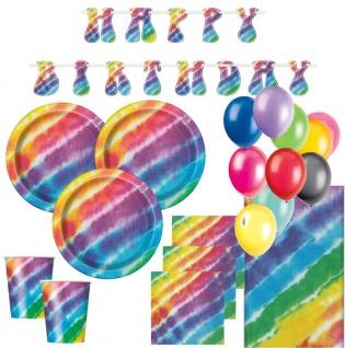 XL 44 Teile Party Deko Set Regenbogen Hippie Batik Style für 8 Personen