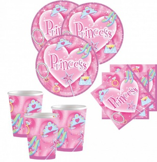 32 Teile Sparkling Princess Party Set für 8 Kinder