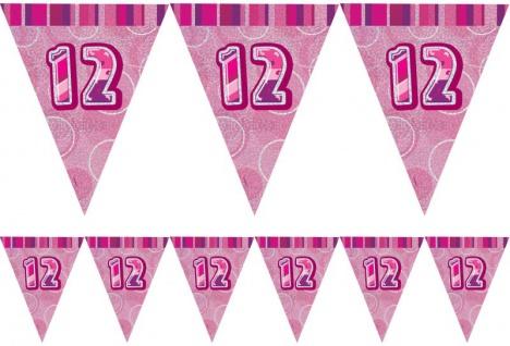 12. Geburtstag Wimpel Girlande Pink