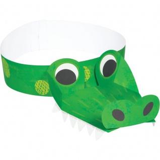 8 Party Hütchen kleines grünes Krokodil