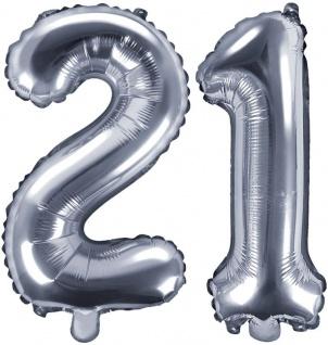 Folienballons Zahl 21 Silber Metallic 35 cm