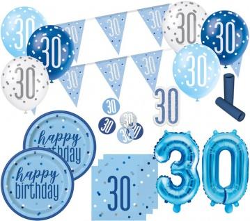 XL 36 Teile 30. Geburtstag Blue Dots Party Set 8 Personen