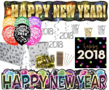 XXL 264 Teile Silvester und Neujahrs 2018 Party Deko Set für 48 Personen