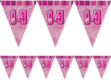 14. Geburtstag Wimpel Girlande Pink