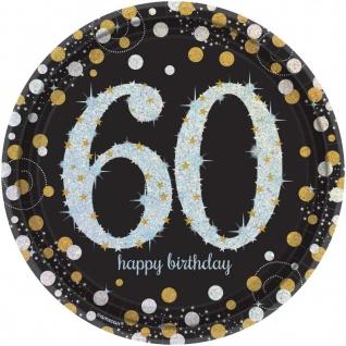 48 Teile zum 60. Geburtstag Gold Glitzer für 16 Personen - Vorschau 2