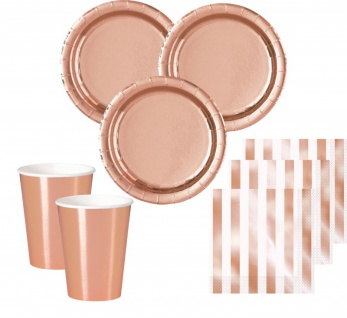 40 Teile Party Deko Set Rose Gold Glanz für 12 Personen - Roségold