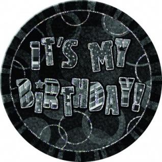 XXL Geburtstag Glitzer Button Schwarz
