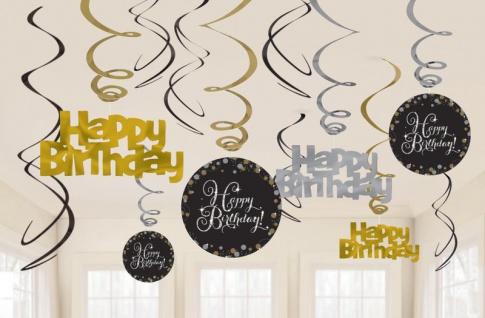 12 hängende Girlanden + 6 Anhänger Glitzerndes Gold und Silber zum Geburtstag