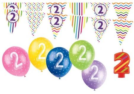 2. Geburtstag Girlande + Luftballons + Kerze Deko Set - Zwei