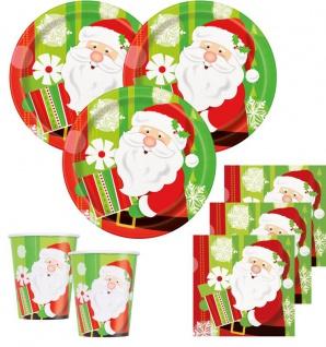 48 Teile Weihnachts oder Advents Deko Set fröhlicher Weihnachtmann für 16 Personen