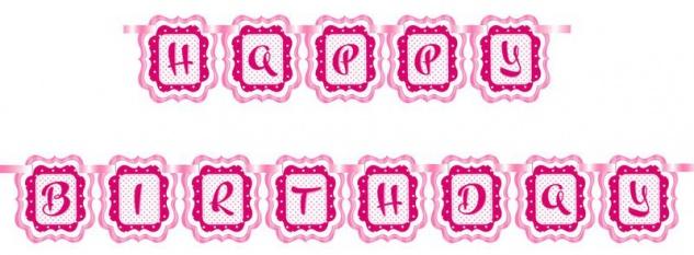 Geburtstags Girlande Perfectly Pink Happy Birthday
