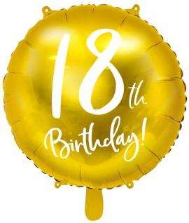 Folien Ballon zum 18. Geburtstag in Gold Metallic