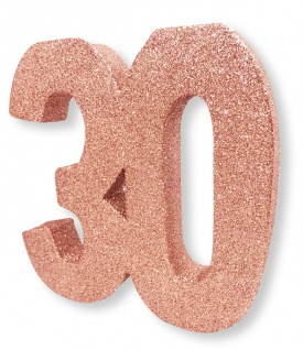 Deko Glitzer Zahl 30. Geburtstag RoseGold